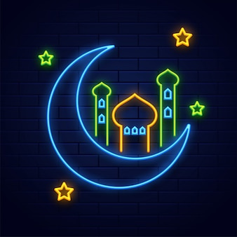 Neon lighting effect crescent moon with mosque and stars on blue
