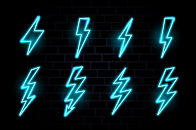 Neon lightning bolt glowing electric flash icon