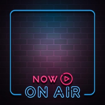 Neon lights on air podcast frame