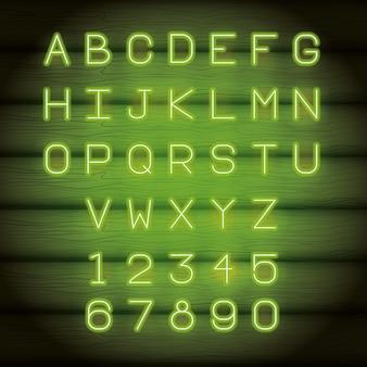 Neon lights alphabet font