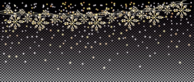 투명 격자 배경에 눈송이와 네온 불빛과 황금 화환. 기쁜 성 탄과 새 해 복 많이 받으세요 개념입니다. 벡터 일러스트 레이 션.