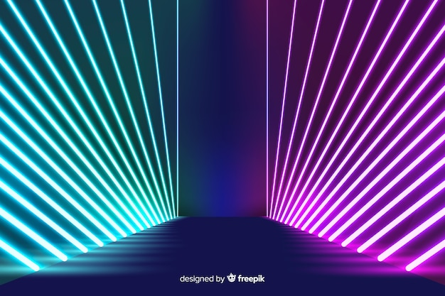 Neon lights arranged stage background
