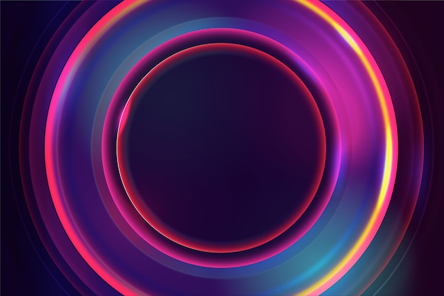 Neon lights background in circles