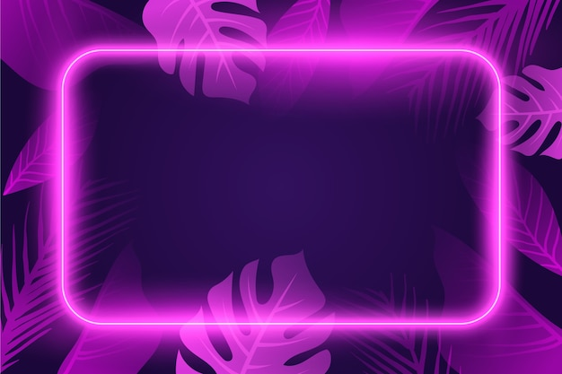 Neon lights background with leaves
