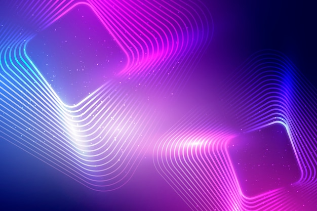 Neon lights background with squares