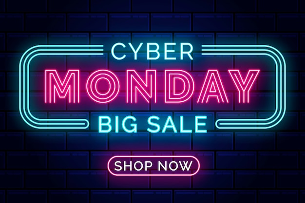 Neon lights cyber monday with lighten frame