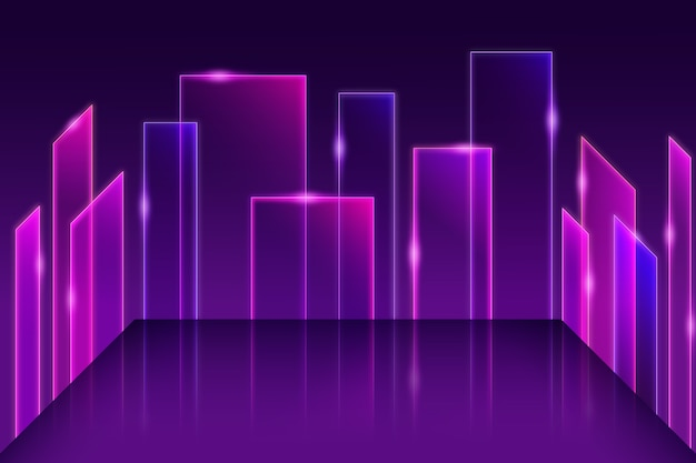 Neon lights geometric models background