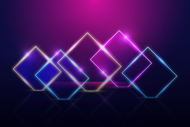 Neon lights geometric shapes background