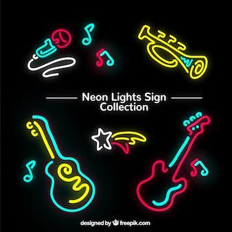 Neon lights of instruments