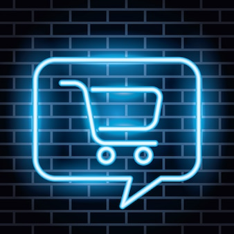 Neon lights label with cart shopping in speech bubble