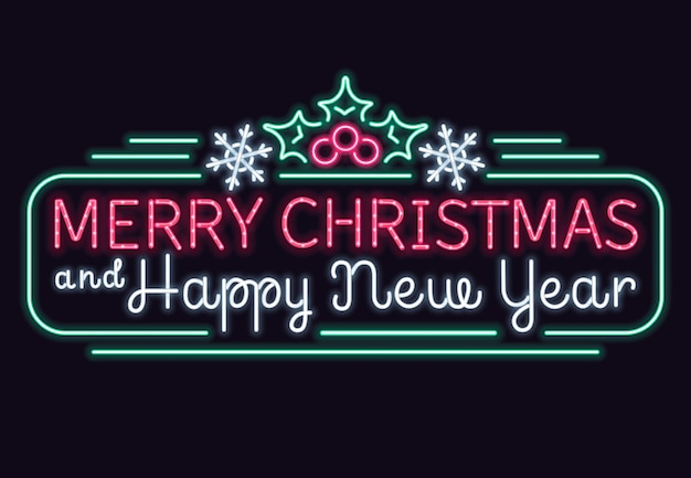 Neon lights merry christmas and happy new year vector sign