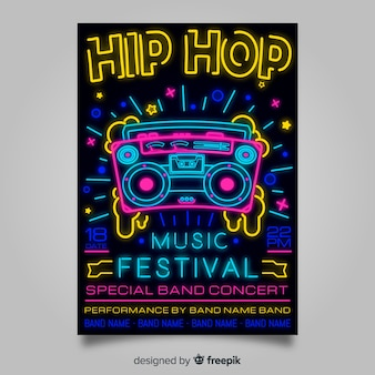Neon lights music festival poster template