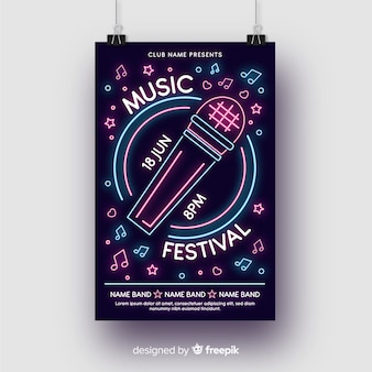 Neon lights music poster template