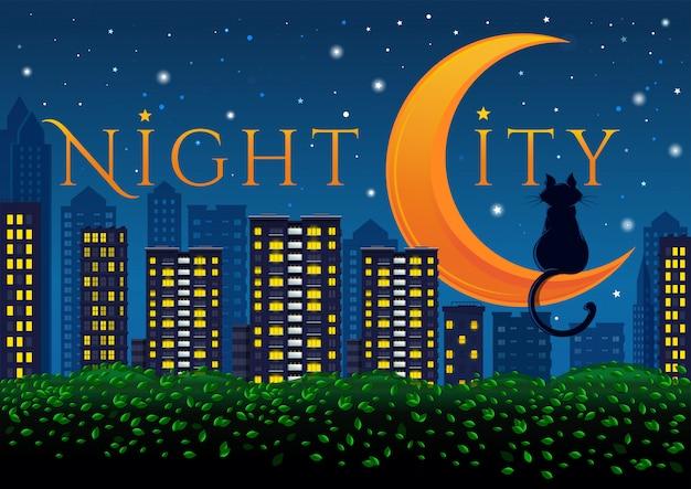 큰 밤 도시의 네온 불빛.