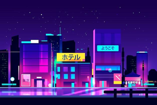 일본 거리에 네온 불빛