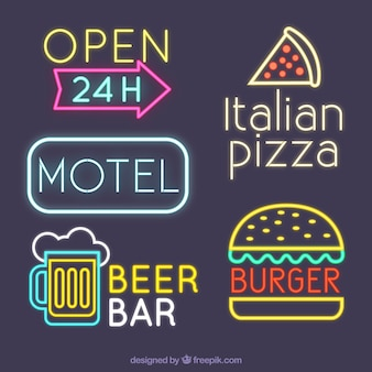 Neon lights pack of different businesses