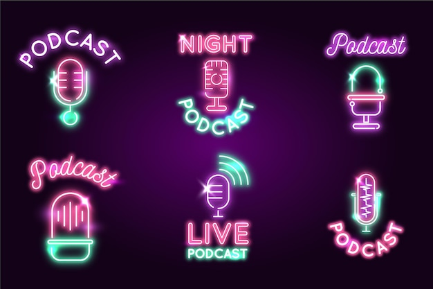 Neon lights podcast logo collection