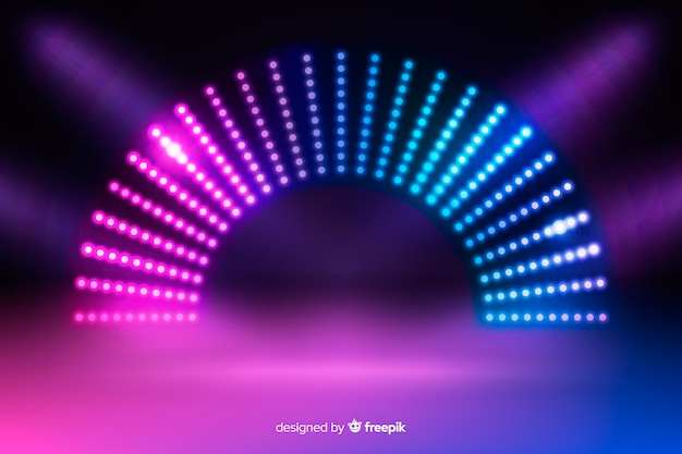 Neon lights stage background Premium Vector