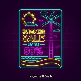 Neon lights summer sale banner