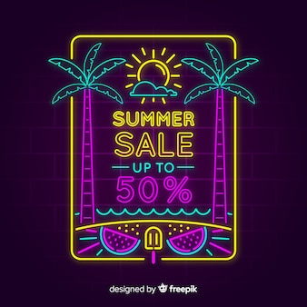 Neon lights summer sale banner