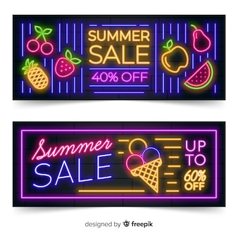 Neon lights summer sale banners