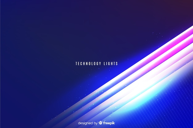 Neon lights technology geometric background