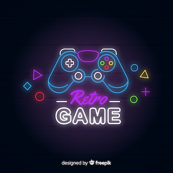 Neon lights vintage gaming logo