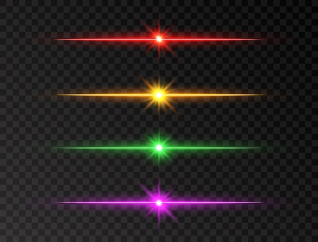 Neon line set. color shine beams. glowing line set. realistic lens flare set. flash with rays and spotlight. glow lights, stars and sparkles. glittering sun beams