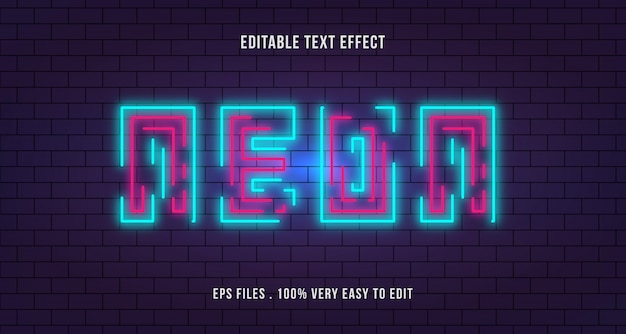 Neon line with brick wall text effect