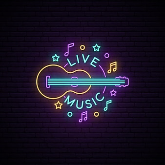 Neon live music sign.