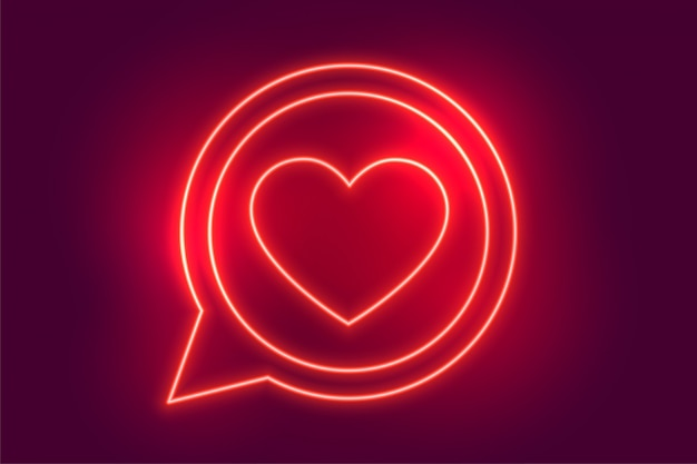Neon love heart chat symbol background