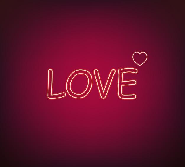 Neon love sign vector