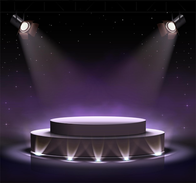 Neon luminous black stage with spot lights around and clouds effect.