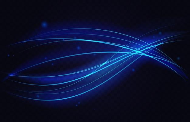 ネオン発光速度運動波抽象的な光効果青い曲線エネルギー線波