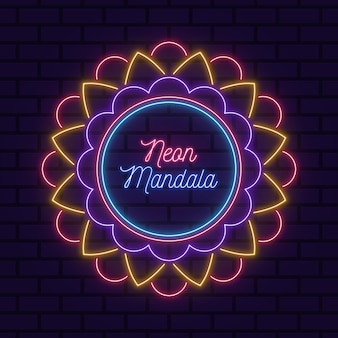 Neon mandala on the wall background wallpaper