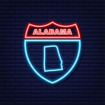 Неоновая карта штата алабама, соединенные штаты америки, контур алабамы. синий светящийся контур. векторная иллюстрация.