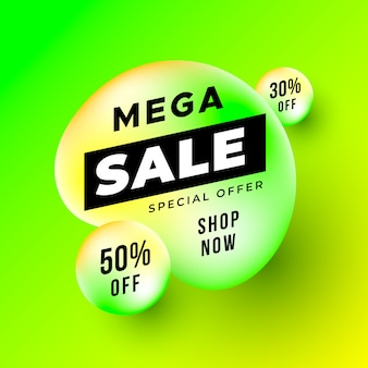 Neon mega sale banner with liquid shapes
