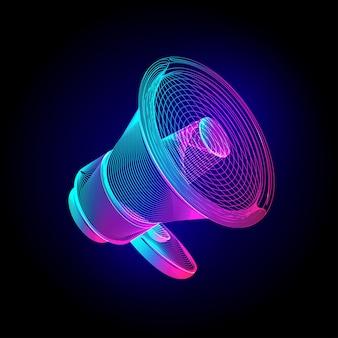 ネオンメガホン。輝く拡声器スピーカーサイン。暗い背景に紫外線ワイヤーフレームラインアートスタイルで