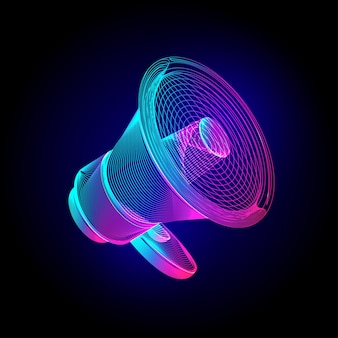 Neon megaphone. glowing bullhorn speaker sign. in ultraviolet wireframe line-art style on a dark background
