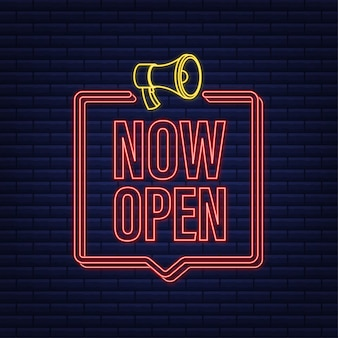 ネオンメガホンレーベルがオープンしました。メガホンバナー。ウェブデザイン。ベクトルストックイラスト。