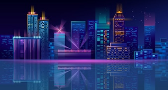 Neon megapolis background with buildings, skyscrapers