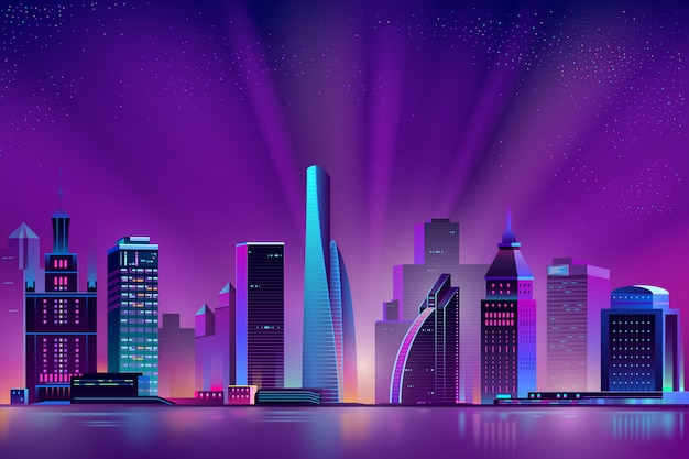 Neon megapolis background with shining sun