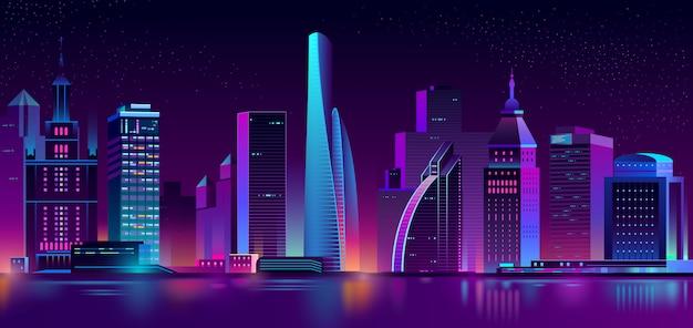 Neon megapolis background