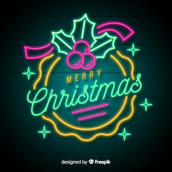 Neon merry christmas background