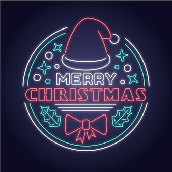 Neon merry christmas concept