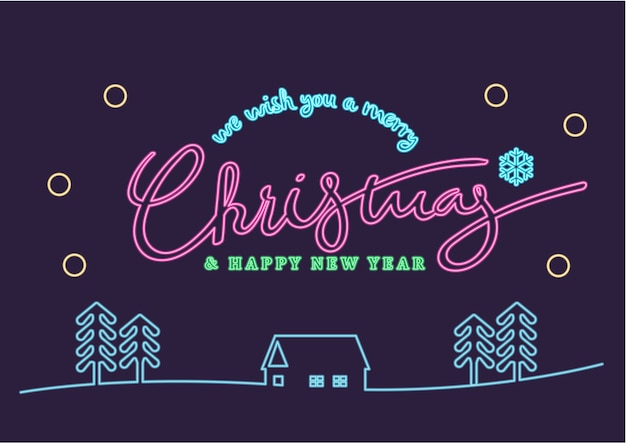 Neon merry christmas & happy new year illustration design