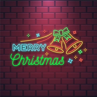 Neon merry christmas text with bells