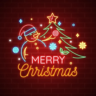 눈사람 및 트리 네온 메리 크리스마스 텍스트