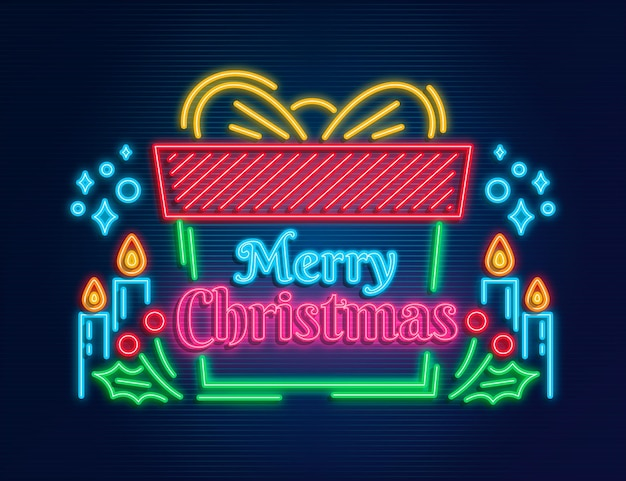 Neon merry christmas text