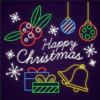 Neon merry christmas with greeting